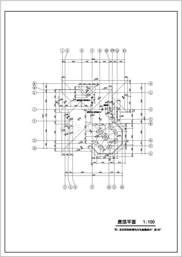 330平米左右2层砖混结构单体中式别墅建筑设计CAD图纸-图二