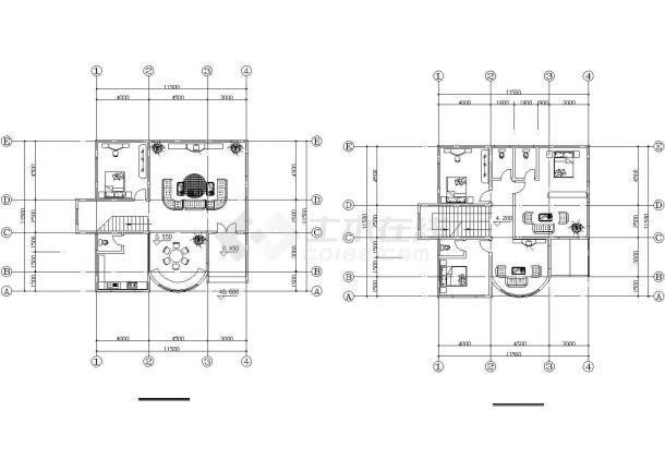 经典的2层砖混结构乡村单体别墅建筑设计CAD图纸(12套方案)-图一