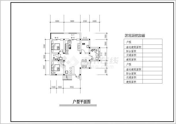 宝泉小区多层住宅户型设计cad建筑方案图(含户型技术经济指标)-图二