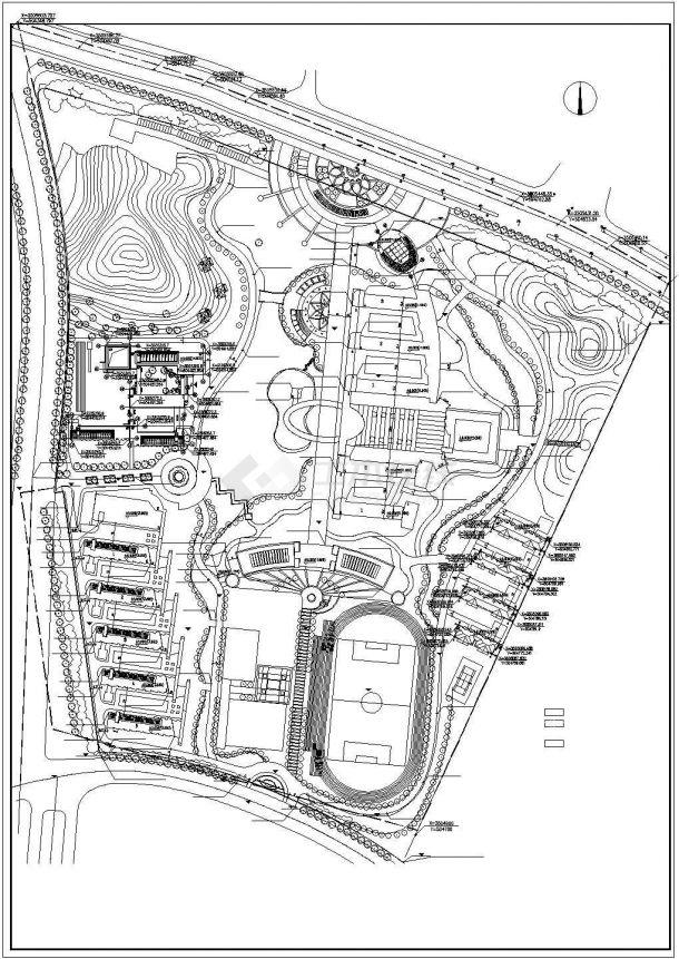 马鞍山市枝阳中学校区总平面规划设计CAD图纸(占地5万平米)-图一