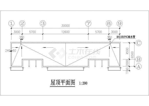 北京某中学190平米单层砌体结构公共场所建筑设计CAD图纸-图二