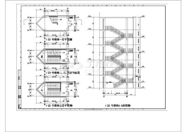 5层楼梯cad图纸设计-图一