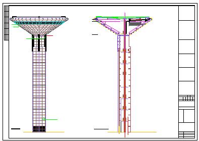 49米高体育中心景观塔cad结构施工图(含建筑图18吨消防水箱)-图一