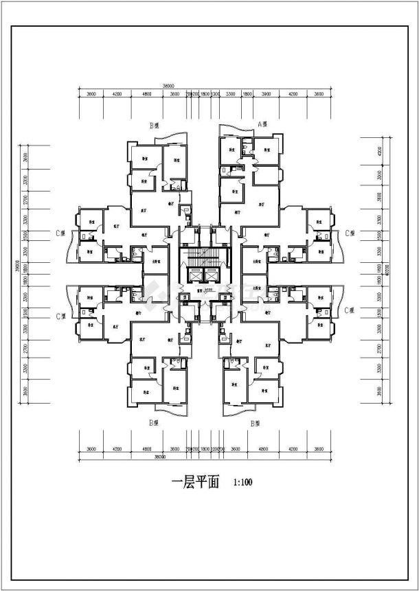 高层综合住宅建筑设计方案图-图一