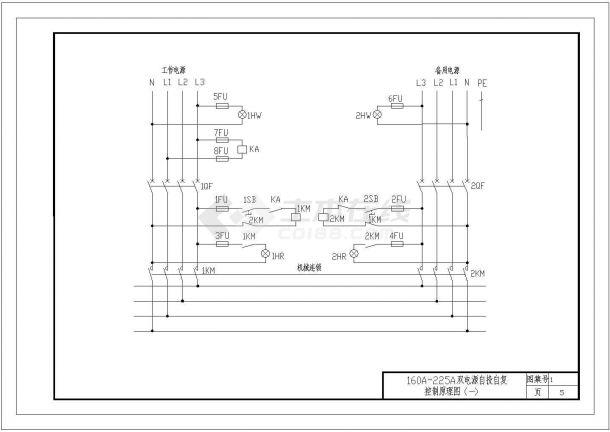 常用风机及水泵(含双电源自投自复设计)电气控制设计cad电气原理图图集(含设计说明,42张图)-图一
