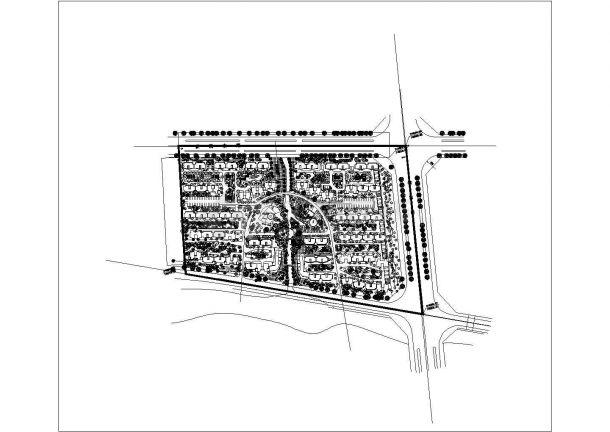 新乡市紫荆花园小区总平面规划设计CAD图纸(占地4.5万平米/3张)-图一