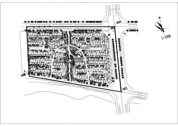 新乡市紫荆花园小区总平面规划设计CAD图纸(占地4.5万平米/3张)-图二
