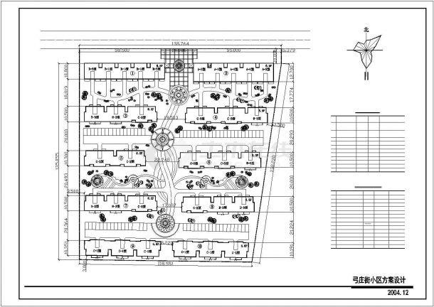 福州市弓庄街小区总平面规划设计CAD图纸(占地1.9万平米)-图一