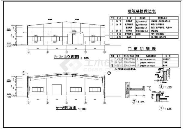 门式钢架小厂房室内装修建筑设计施工图-图一