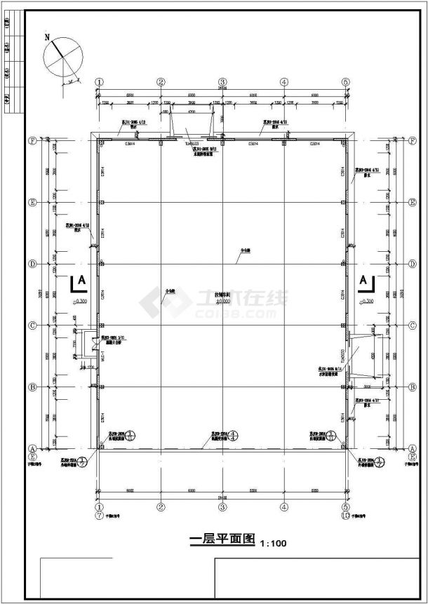门式钢架小厂房室内装修建筑设计施工图-图二