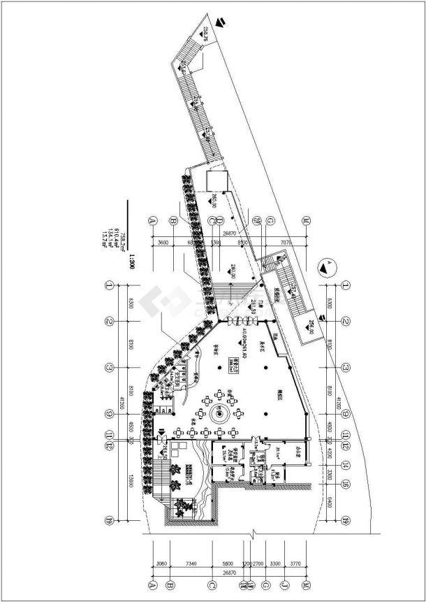 重庆市某新建楼盘1200平米2层框架结构售楼部建筑设计CAD图纸-图一