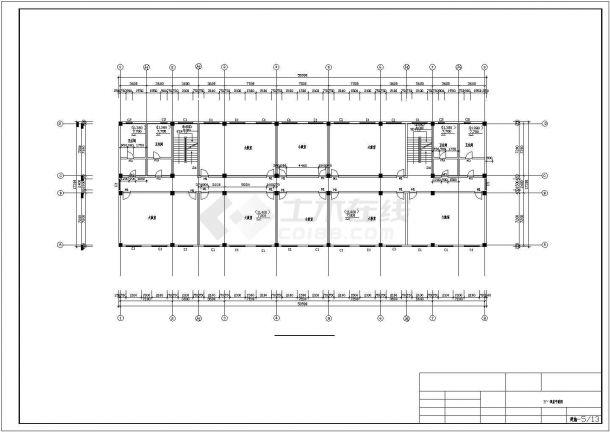 嘉兴市开明中学5280平米6层框架结构教学楼建筑结构设计CAD图纸-图一