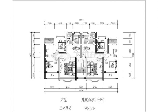 淮安市斑马小区总平面规划设计CAD图纸(占地2.4万平米含8张户型图)-图二