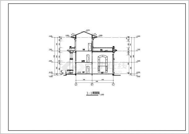 湖北省某小区3层单家独院式别墅建筑设计施工图(含建筑构造用料做法表)-图一