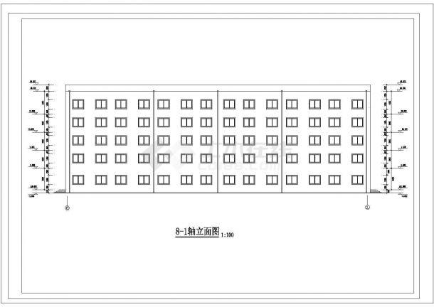 唐山市某市立医院4千平米5层框架结构办公楼建筑结构设计CAD图纸-图一