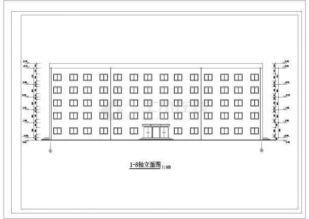 唐山市某市立医院4千平米5层框架结构办公楼建筑结构设计CAD图纸-图二