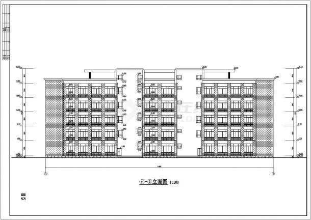 榆林市师范学院4400平米5层框架结构办公楼建筑结构设计CAD图纸-图一