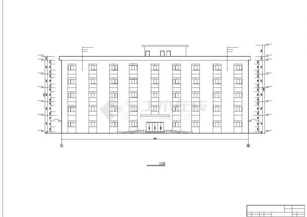 西安某航空动力研究所5320平5层框架结构办公楼建筑结构设计CAD图纸-图一