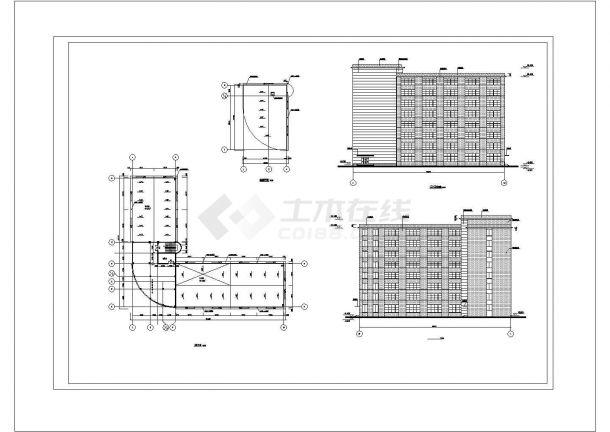 金华市广科创业园1万平米8层框架结构办公楼建筑结构设计CAD图纸-图一