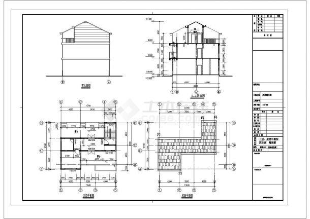 某三层砖混结构新农村单家独院式别墅方案设计施工图(含建筑及结构设计说明)-图一
