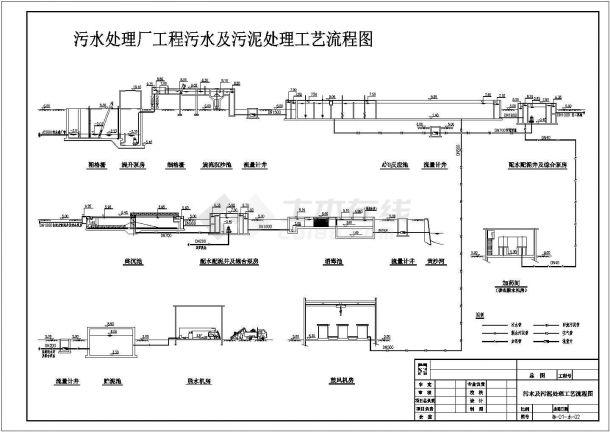 污水处理厂工程污水及污泥处理工艺流程施工图-图一
