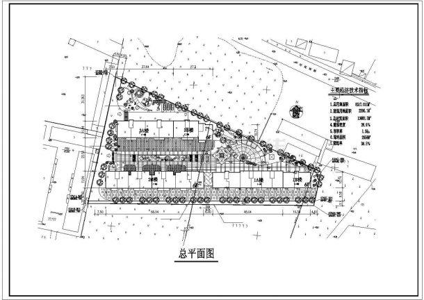 兰州市馨北花园小区总平面规划设计CAD图纸(三栋楼/占地8千平米)-图一