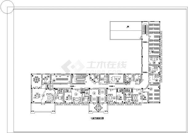 某办公楼整层室内装饰地面材料cad设计施工图-图二