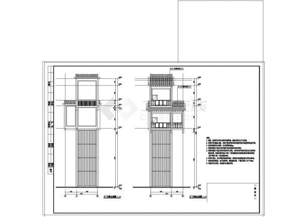 20米高树蛙景观观光塔建筑设计CAD图-图二