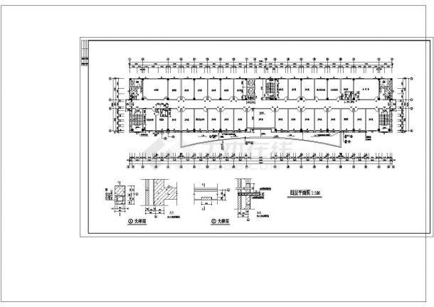 办公楼设计_7+1夹层9462.13平米混凝土框架结构就业培训办公楼建施cad非常标准图纸-图一