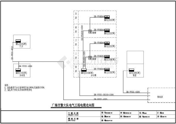 广海交警大队电气设计图纸cad-图一
