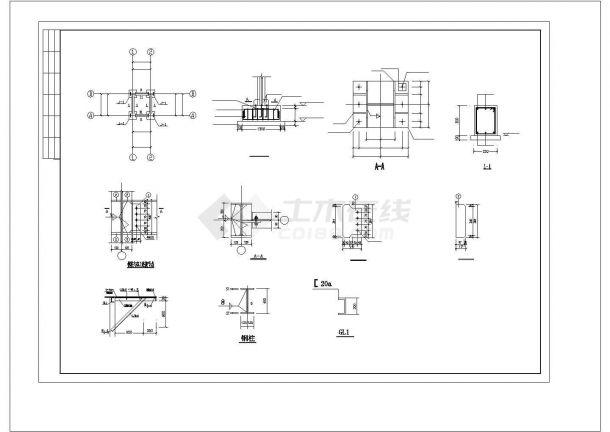 某地室外住宅钢结构楼梯施工设计图cad-图二