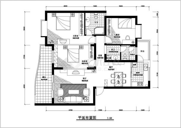 南京郊区某地大三居豪宅全套室内精装修cad设计方案图-图一