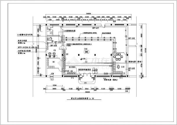 某银行营业厅110监控线路图CAD构造设计-图一