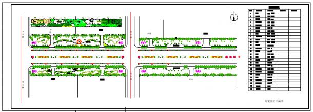 道路绿化施工设计cad平面图-图二