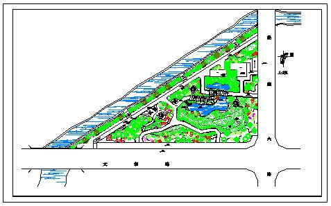 某小公园绿化设计施工cad图纸-图一