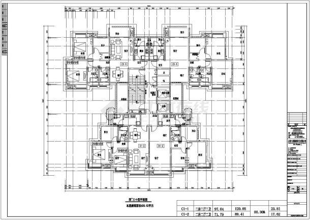 某城市高层复式结构一梯四户住宅建筑设计施工CAD图纸-图一