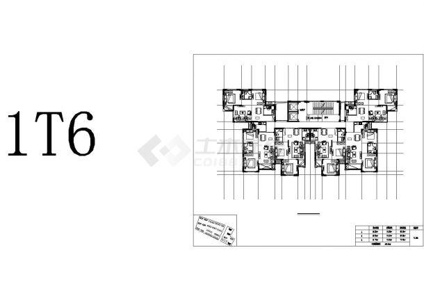 某高层小区2房2厅建筑设计施工CAD图纸-图一