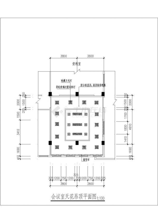 黄石市某四楼会议室室内装修cad平面图地面铺砖图-图二