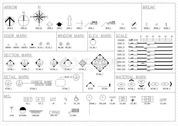 室内装修工程常用家具电器等设计cad素材图例图库(全英文标注,种类齐全)-图一