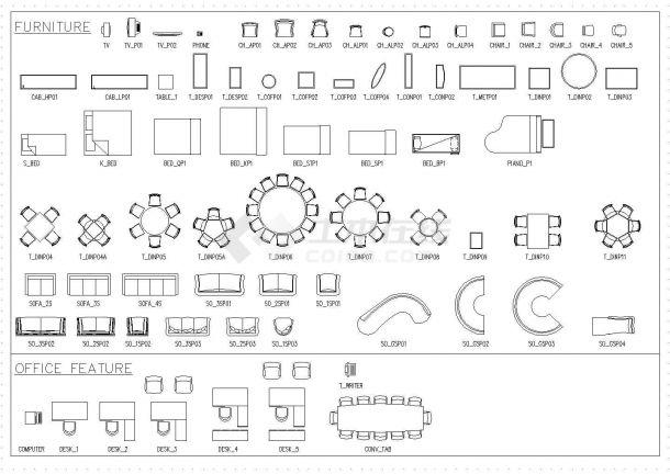 室内装修工程常用家具电器等设计cad素材图例图库(全英文标注,种类齐全)-图二