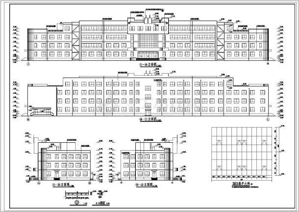 杭州某高等学院6200平米4层框架结构教学楼建筑设计CAD图纸-图一