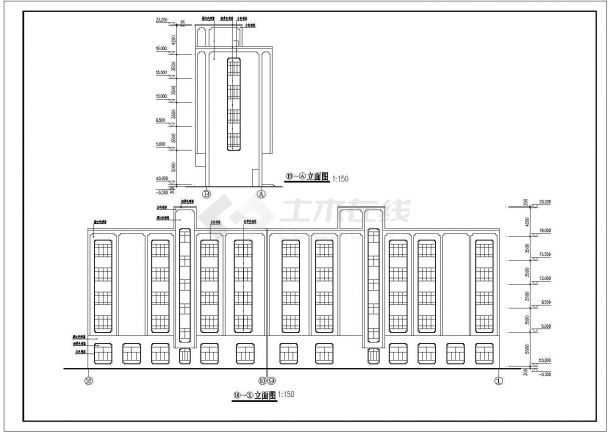 某市中心高层宾馆建筑设计方案施工CAD图纸-图一