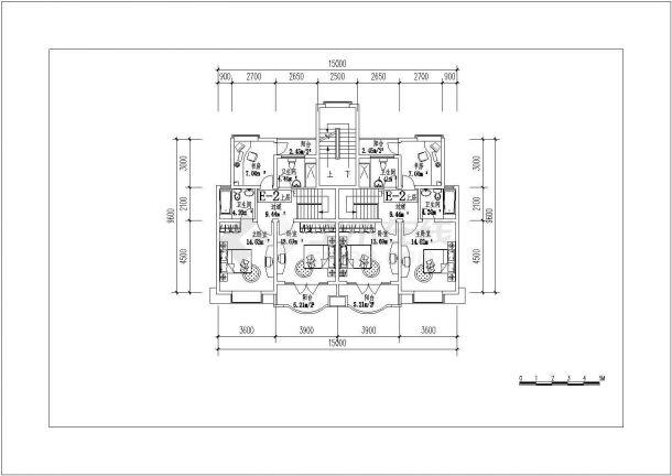 吉林省四平市某小区复式房型施工设计CAD平面图-图一