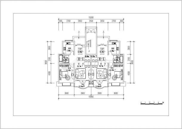 吉林省四平市某小区复式房型施工设计CAD平面图-图二