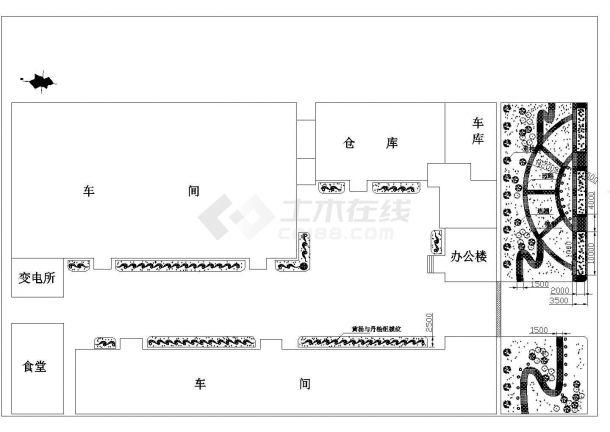 某厂区绿化CAD节点景观设计图-图一