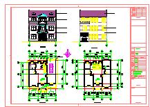 某新农村三层民房建筑结构施工图全套cad图纸-图二