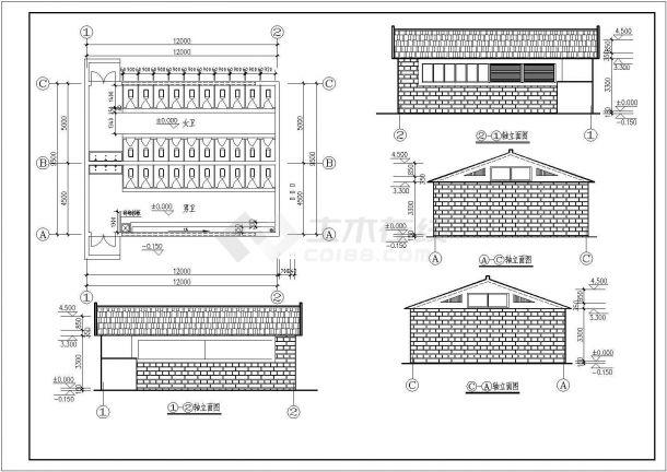 南通1层公共厕所建筑设计全套施工cad图-图一