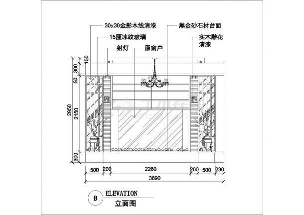 南京汉爵大酒店80平米高档商务包厢平立面设计CAD图纸-图二