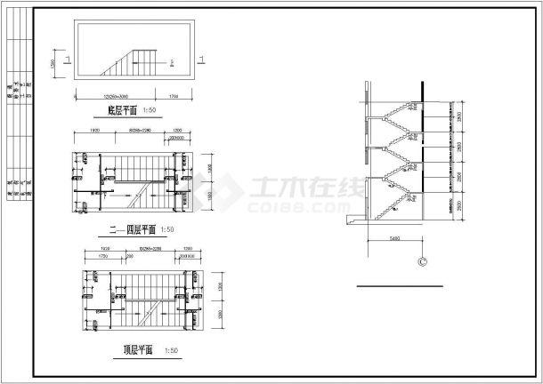 某县城钢筋混凝土框架结构五层加阁楼住宅楼设计CAD图(含结构设计总说明)-图一