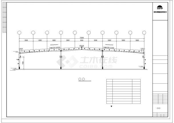 某经济区石业有限公司A栋厂房建筑设计施工CAD图纸-图二